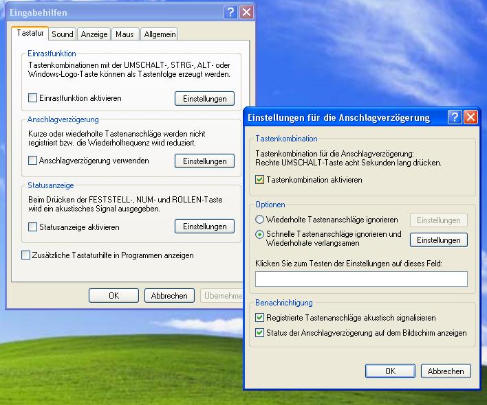 Anschlagverzögerung - Windows XP