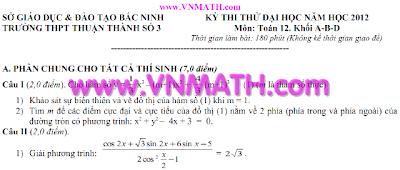 Đề thi thử môn Toán 2012 của trường THPT Thuận Thành 3 Bắc Ninh