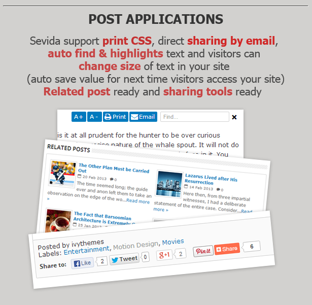 >Sevida Blogger Template Features Post Application