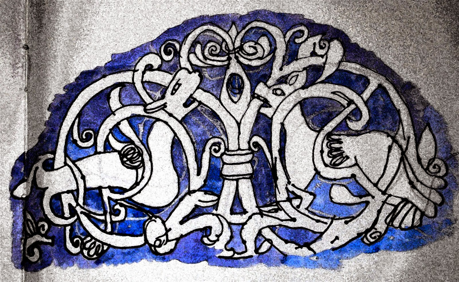 Norman carving of animals and knotwork at Knook, Wiltshire