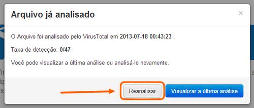 virustotal reanalisar visualizar a última análise