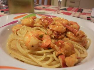 spaghetti con gamberetti e polpa di astice