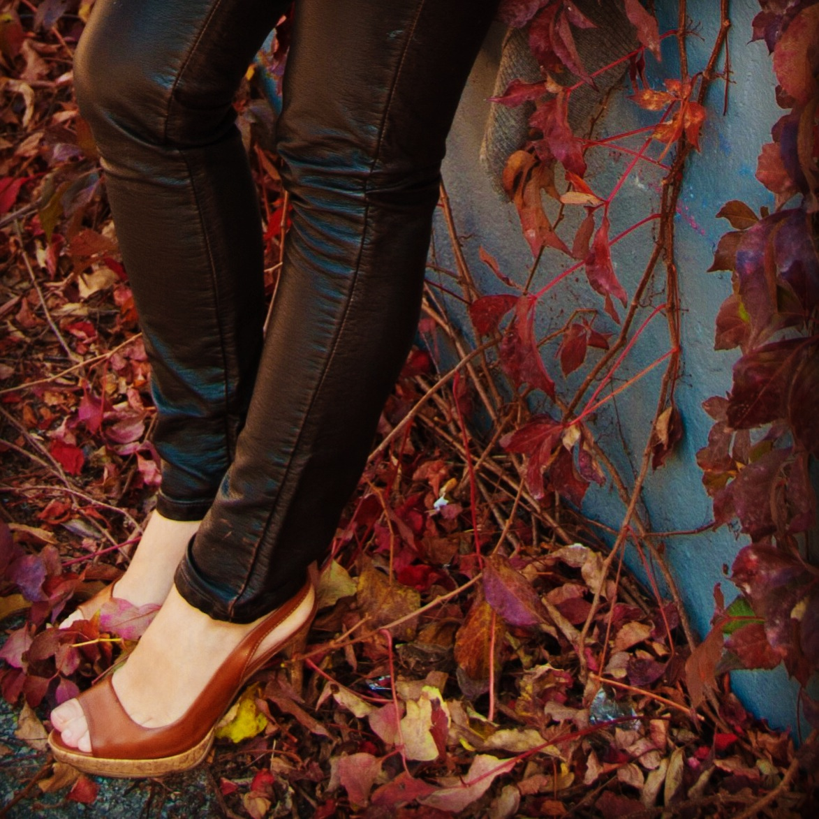 black leather pants autumn fall vines leaves red brick peep toe pumps