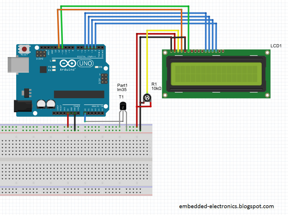 Embedded electronics temperature monitoring using arduino uno