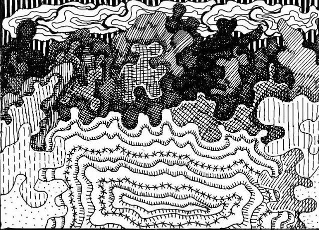 Дикое озерко в окружении кустарников. Графический рисунок тушью