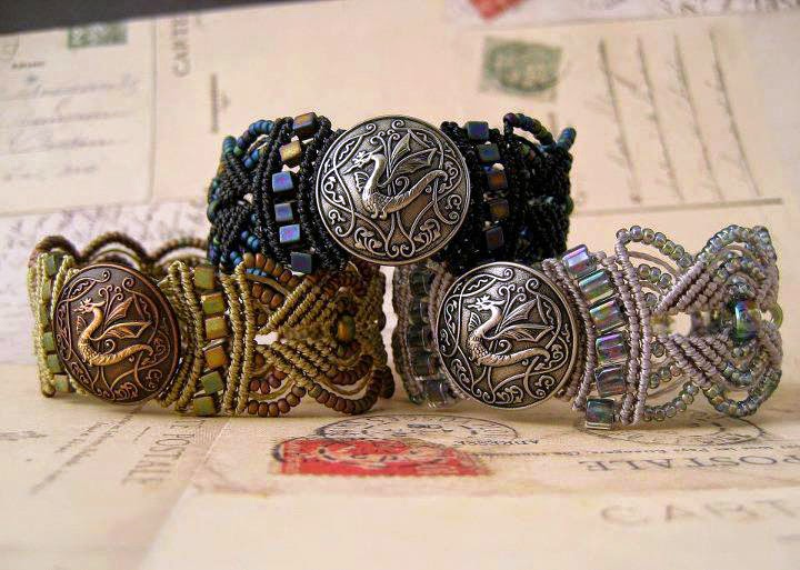 A trio of micro macrame dragon bracelets.