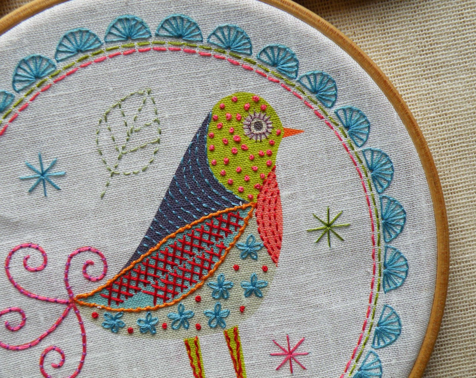 Detail of Birdie 1 Embroidery KIt