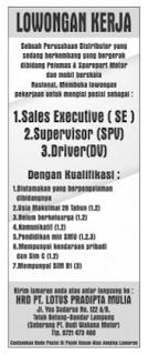 Bursa Kerja Lampung PT. LOTUS PRADIPTA MULIA, Kamis 07 Januari 2016