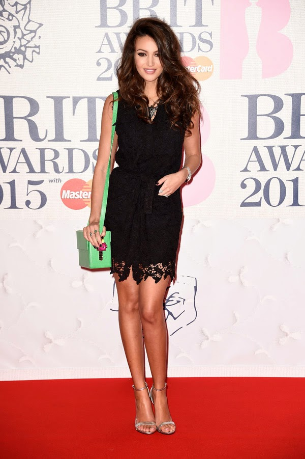 Michelle Keegan in a black mini dress at the 2015 BRIT Awards in London