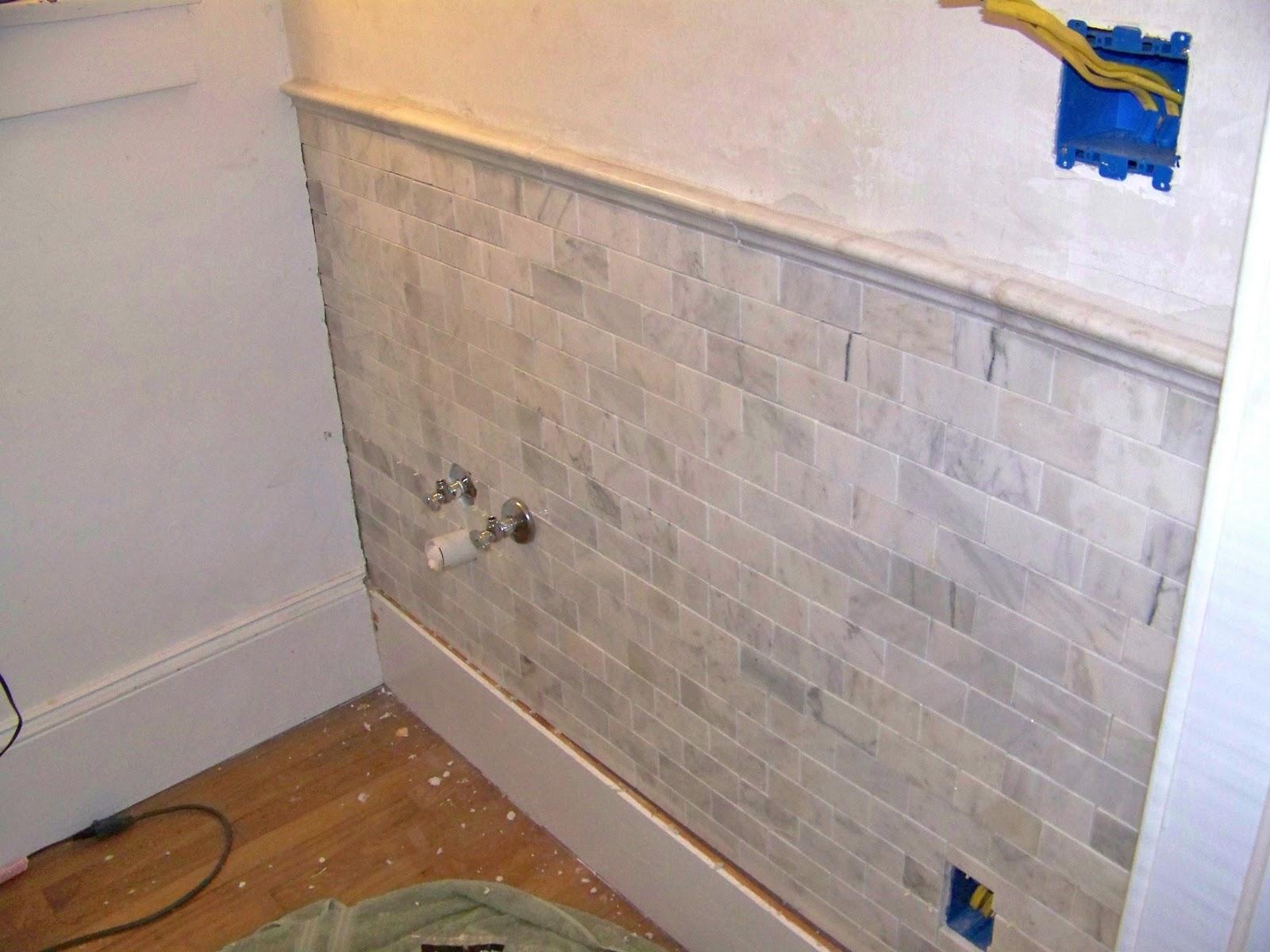 Seesaws and sawhorses half bath steps 6 7 walls for Bathroom half wall tile