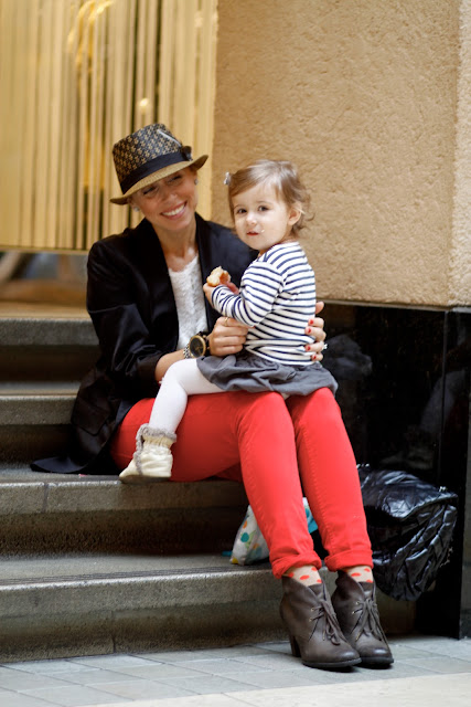 Sarah Pacific Place downtown seattle street style fashion fedora polka dots red pants kid