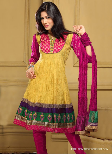 Anarkali-Frocks-Yellow-Red-Designs