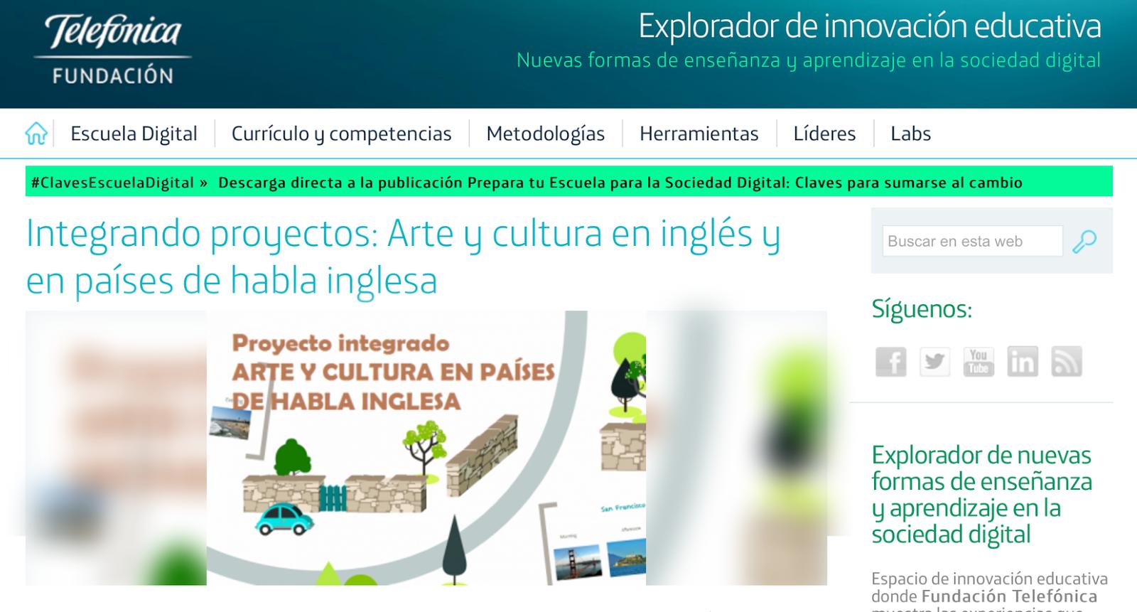 Nuestro Proyecto Integrado en la web de Innovación educativa Fundación Telefónica