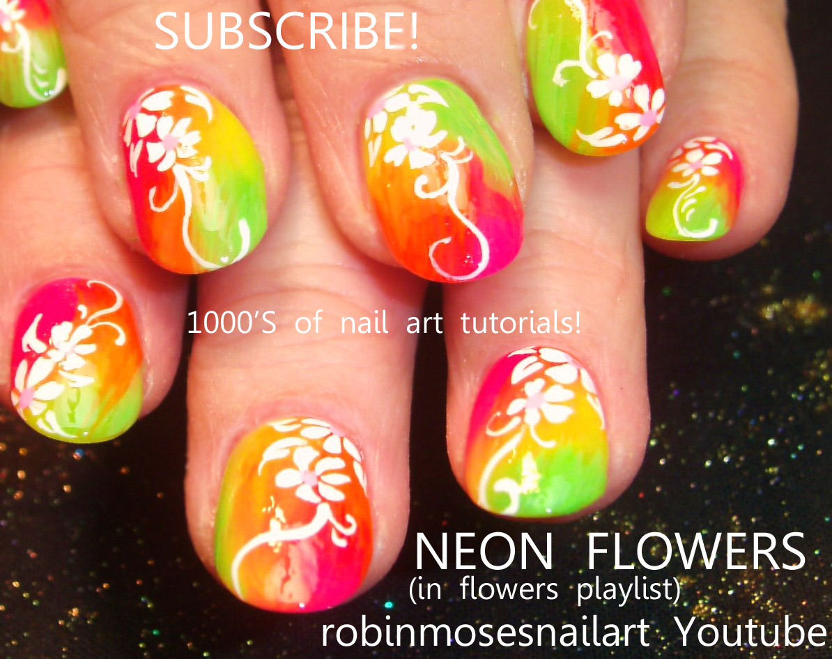 Nail Art Design: neon nail, neon flower nail, pink neon nail, orange ...