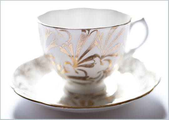 gold patterned teacup