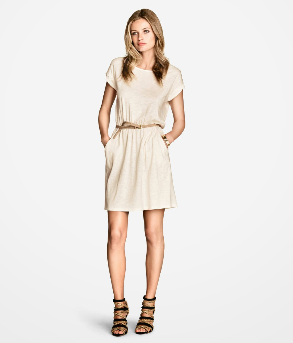 cream belted dress