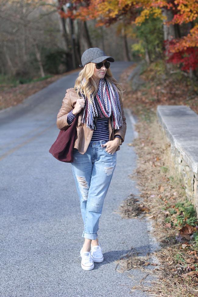 missoni scarf, boyfriend jeans, stripe tee, converse sneakers