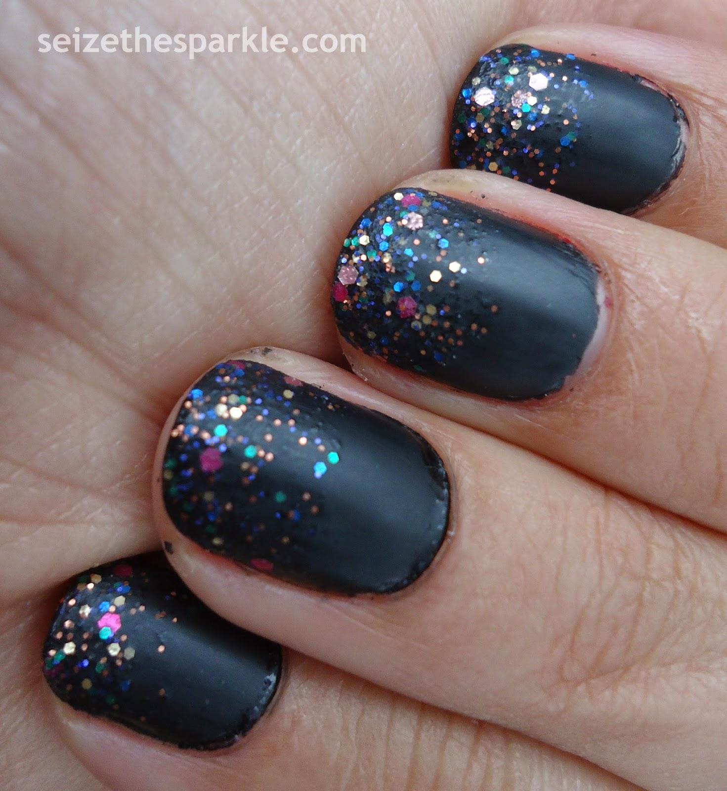Black Matte Glitter Layering
