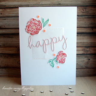 wplus9 pretty peonies pink cas clean&simple card happy handmade Hamster-sensey cardmaking scrapbooking открытка чисто и просто цветы пионы розовый скрапбукинг ручная работа
