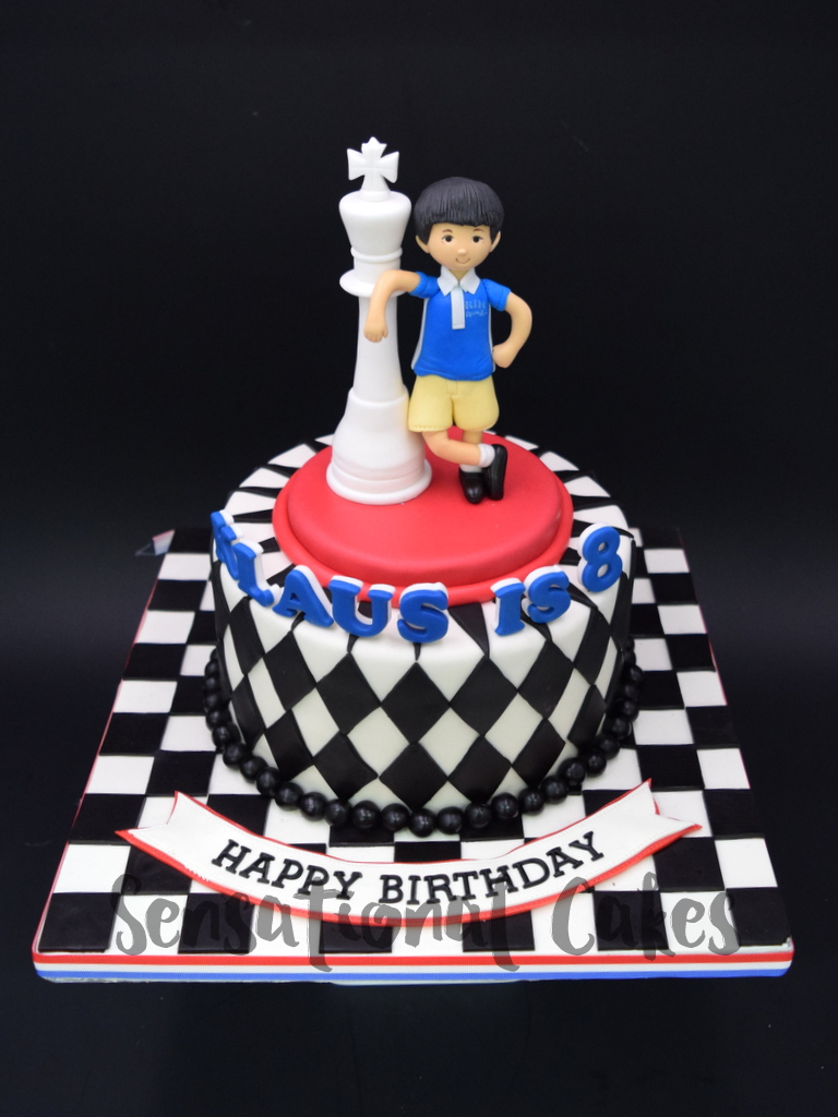 The Sensational Cakes Chess Piece With Checkered Design Boy