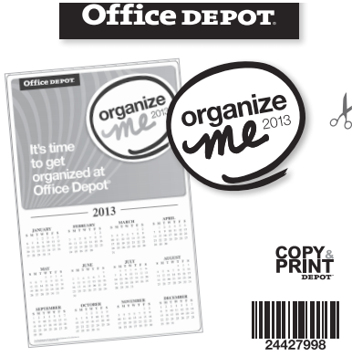 Free 2013 Organize Me Calendar From Office Depot Thrifty Jinxy