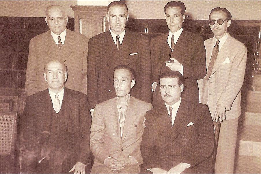 Manuel Molina con Vicente Aleixandre, Vicente Ramos, Santiago Moreno, Carratalá, Román y Esteve