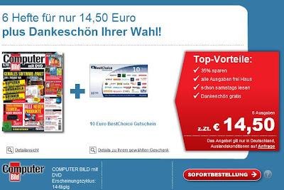 6x Computer Bild plus DVD für 14,50 Euro + 10 Euro BestChoice-Gutschein