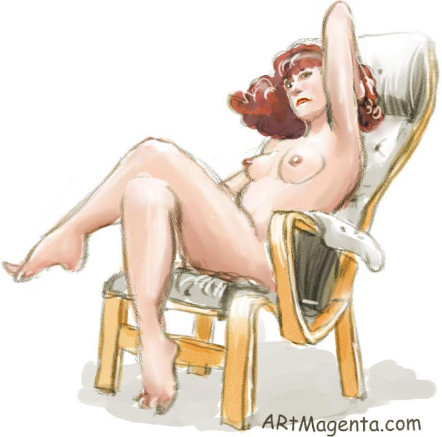 Armchair Pernilla is a life drawing by artist and illustrator Artmagenta