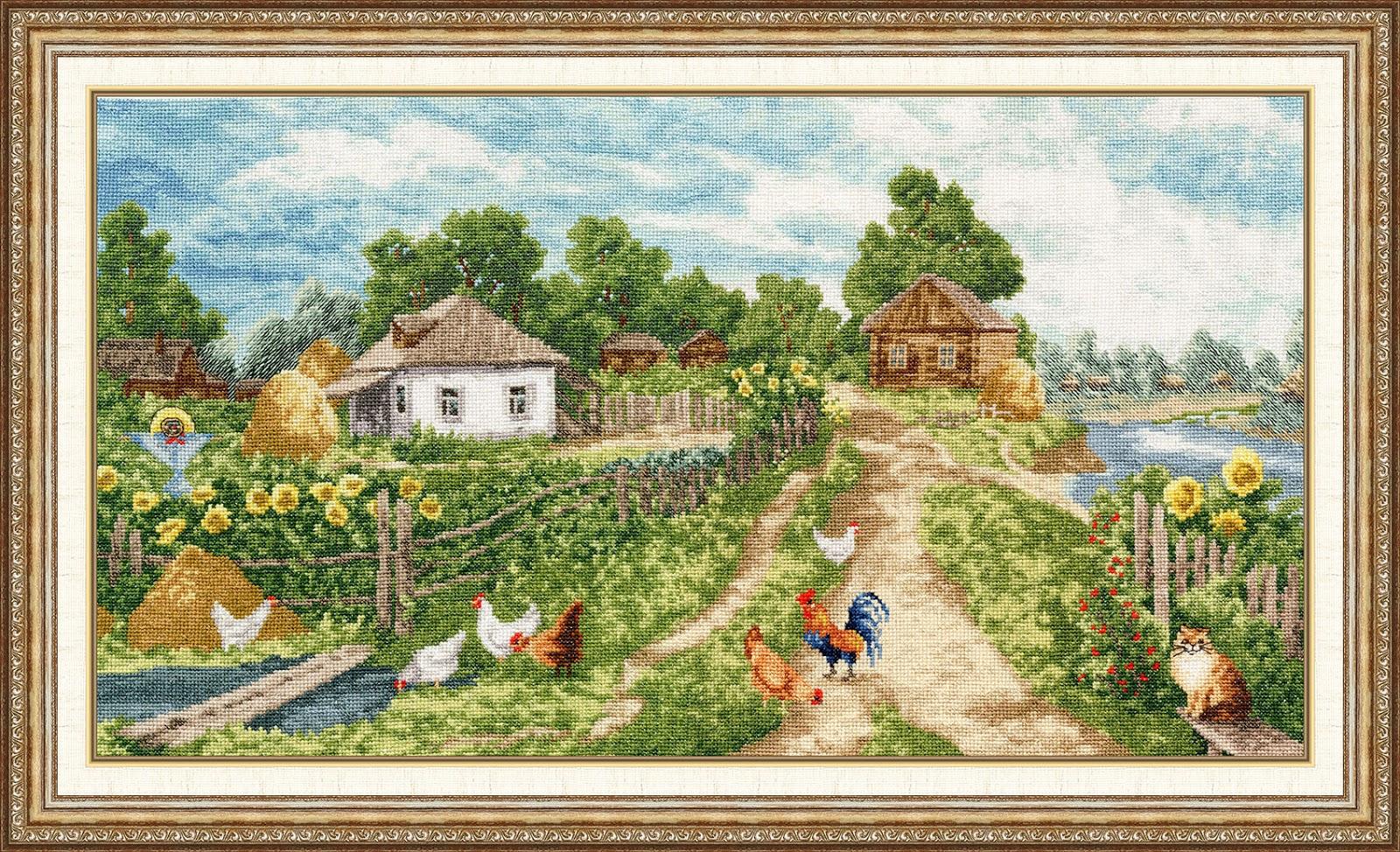 Схемы вышивки деревенских пейзажей 15