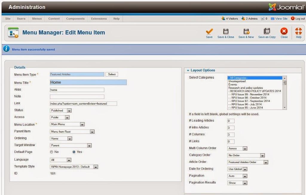 Joomla admin - adjust Home menu item Layout properties