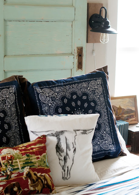 Bandanna pillows, cow skull pillow, western fabric, diy wall sconces