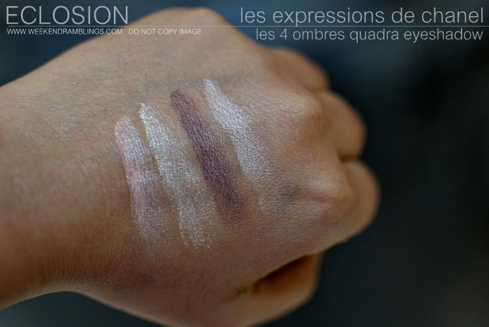 Les Expressions de Chanel Makeup Collection 4 Ombres Quadra Eyeshadow Palette Eclosion Swatches Indian Beauty Blog