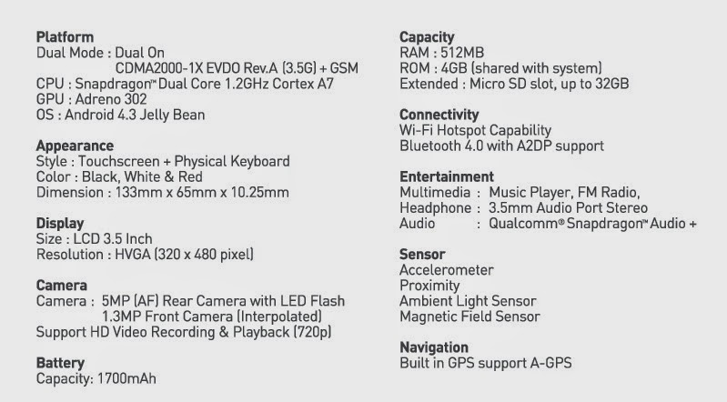 Spesifikasi dan Harga Smartfren Andromax G2 QWERTY | Tampil beda!