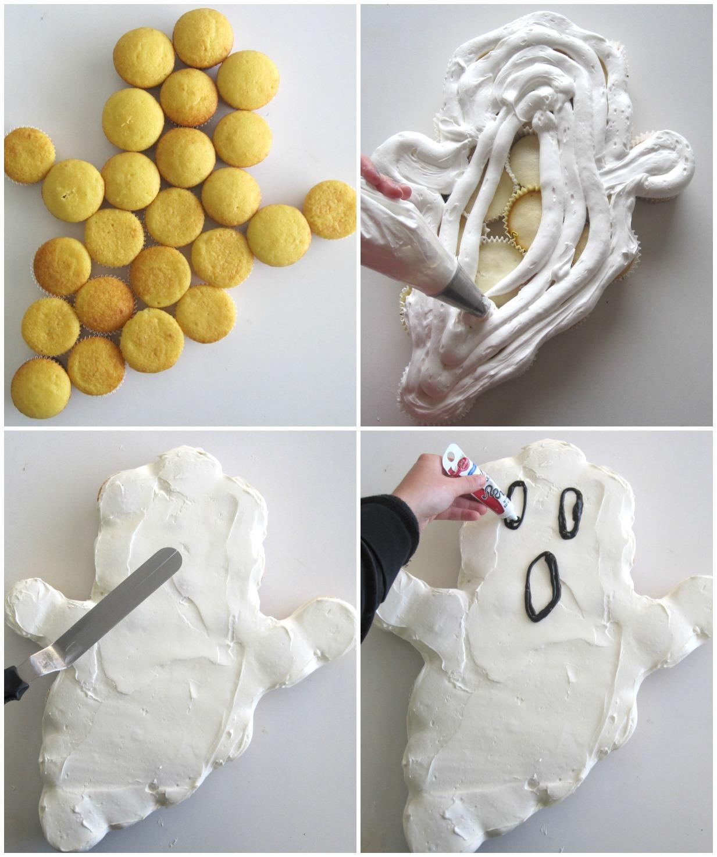 pull-apart ghost cupcake cake - lindsay ann bakes