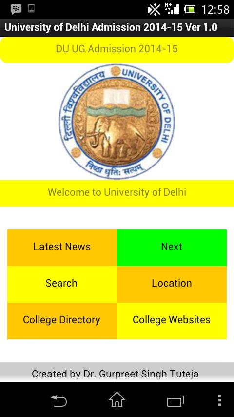 DU UG Admission 2014-15 app