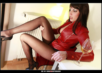 Stella Van Gent in Tight Red Leather
