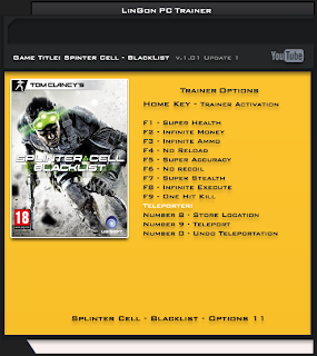 Splinter Cell – Blacklist v1.01 DX9 DX11 +11 Trainer [LinGon]