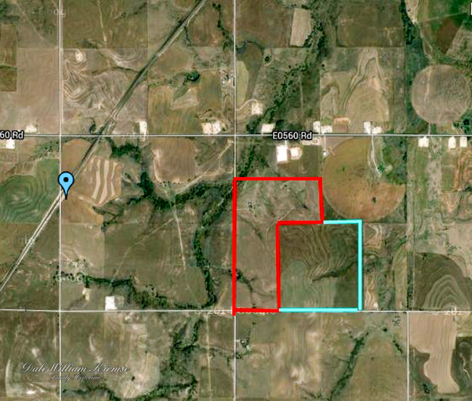 a google earth map showing the location of the wilhelm kirmse homestead outlined in red and the martha kirmse property outlined in blue