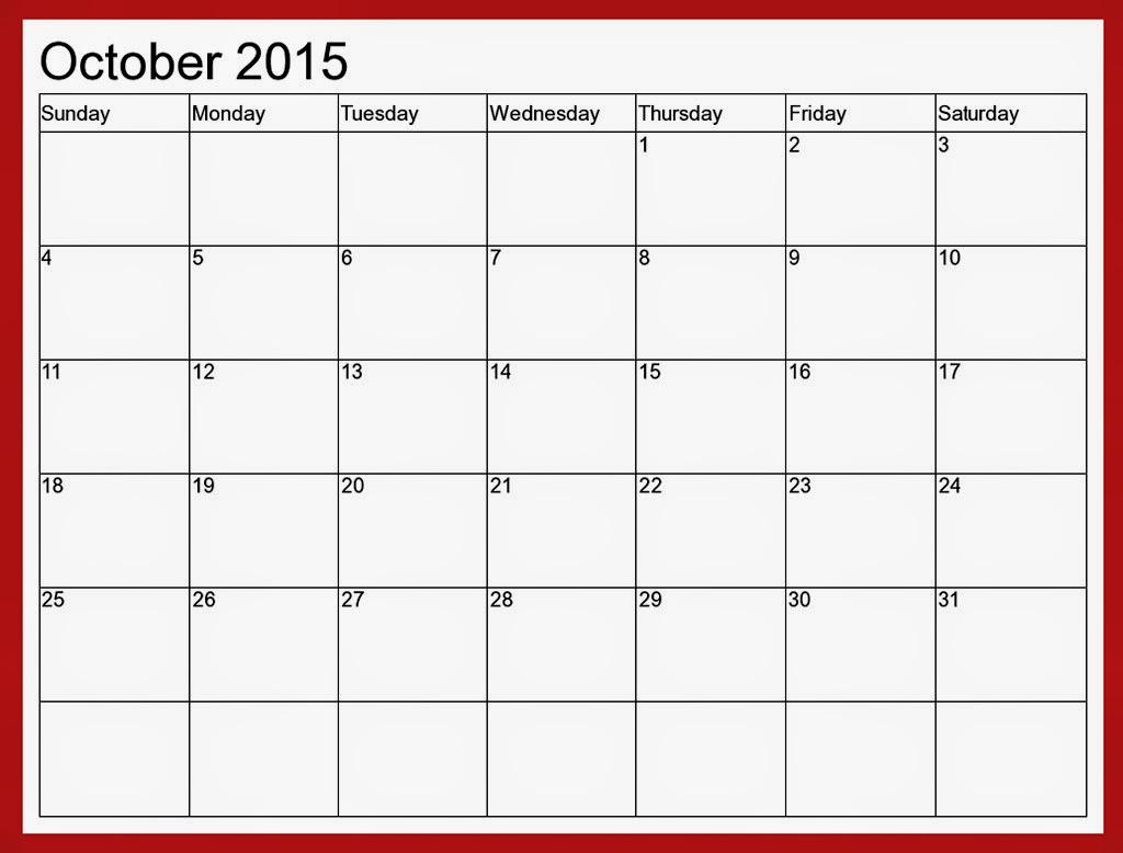 Free Printable Calendar: Free Printable Calendar October