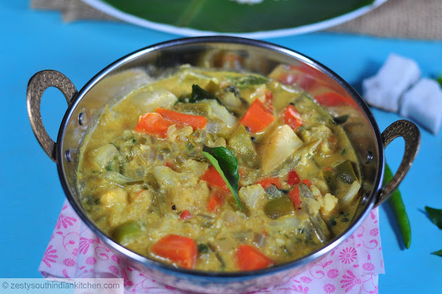 Vegetables Cooked in Mildly spiced Coconut Milk/ Mixed Vegetables Stew ...
