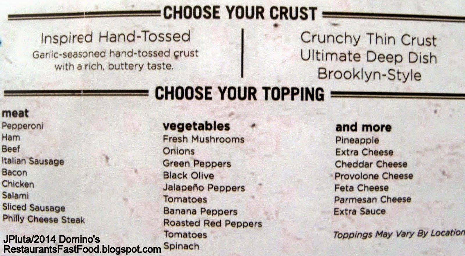 Domino's Pizza Crust Toppings