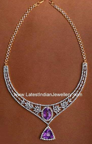 jindal Diamond Necklace Purple Stones