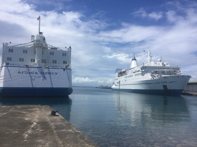 Africa Mercy, Mercy Ships and Logos Hope, OM in Port of Tamatave, Madagascar