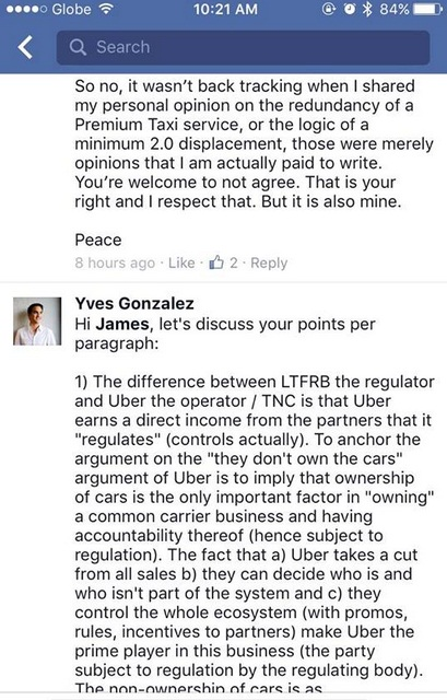 Discussion on Uber, GrabCar, Premium Taxi by Yves Gonzalez and James Deakin