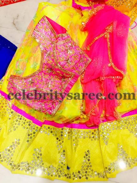 Neon Green Floral Half Saree