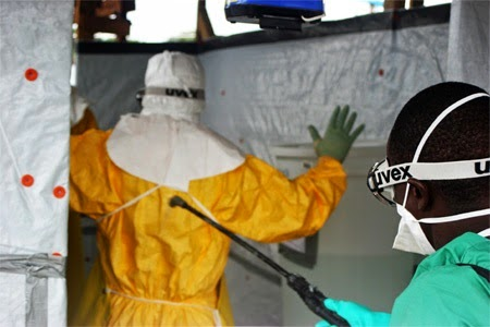 Decontamination before exiting an Ebola Treatment Unit