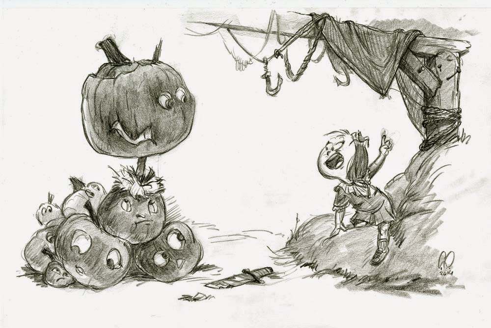 Halloween - Pumpkin Heads and Little Girl Having a Talk In a Barn - illustration drawing in pencil by Cesare Asaro - Creative Director at Curio & Co. (Curio and Co. - www.curioanco.com)