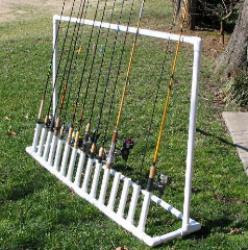 Fishing pole organizer with PVC pipe ::OrganizingMadeFun.com