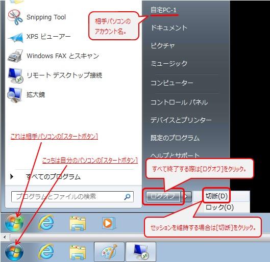 リモート デスクトップ接続 [ログオフ] [切断]