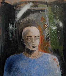 Pintura Burity - Auto retrato com camiseta azul